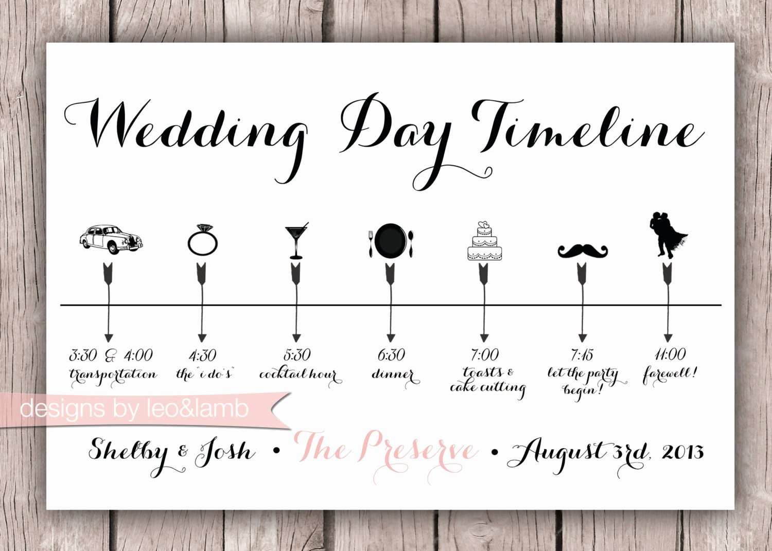 Wedding Day Timeline Template Free Awesome Custom Wedding Timeline 5x7 Digital File