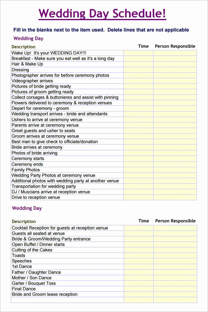 Wedding Day Timeline Template Free Awesome Wedding Schedule Template – 25 Free Word Excel Pdf Psd
