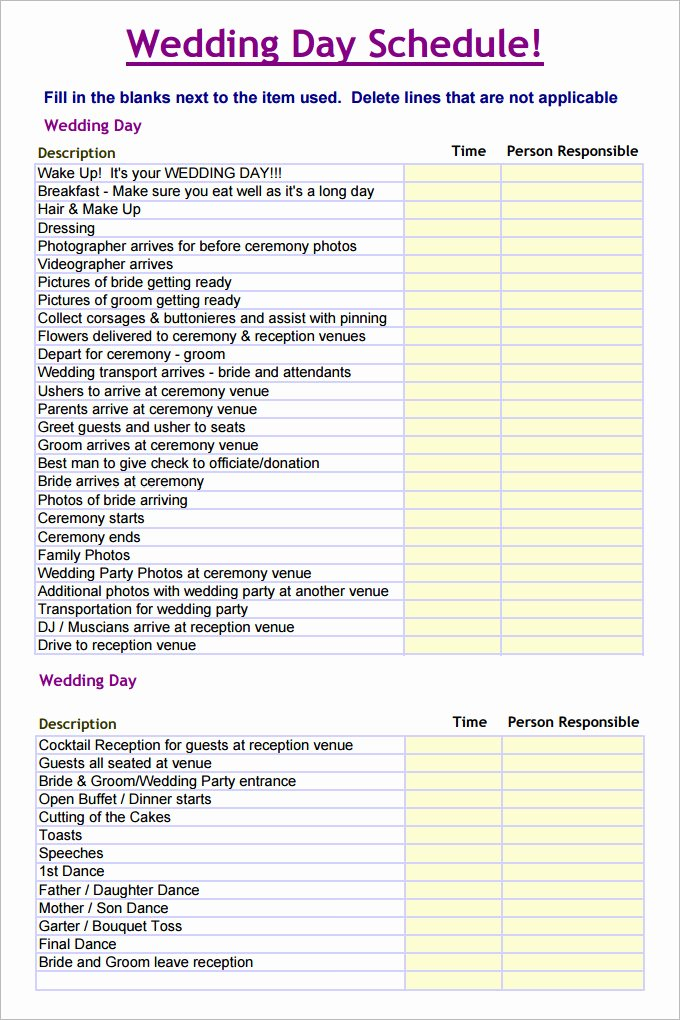 Wedding Day Timeline Template Free Elegant 28 Wedding Schedule Templates & Samples Doc Pdf Psd