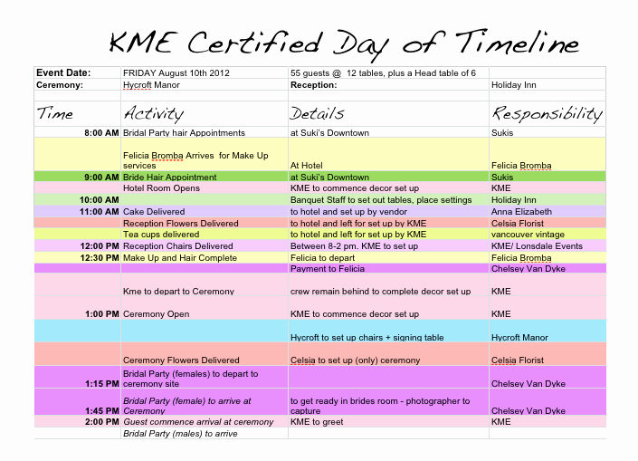 Wedding Day Timeline Template Free Fresh Wedding Day Timeline Template