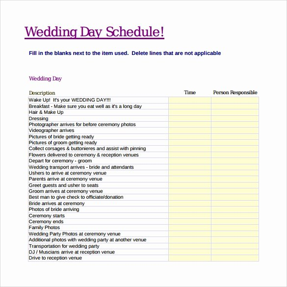 Wedding Day Timeline Template Free Lovely 10 Wedding Schedule Samples