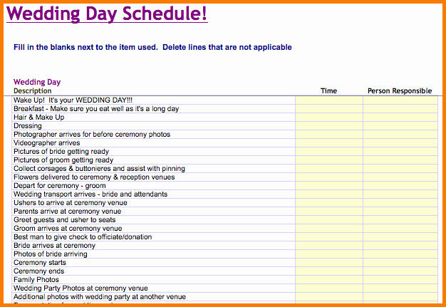 Wedding Day Timeline Template Free New Wedding Day Timeline Template