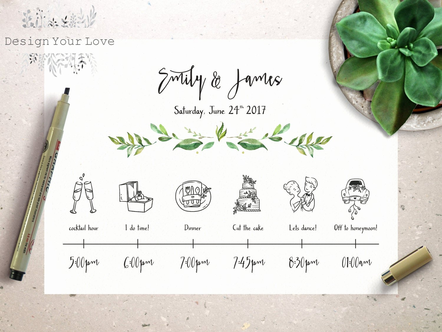 Wedding Day Timeline Template Free New Wedding Timeline Printable Wedding Itinerary Template Green