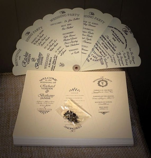 Wedding Fan Program Kit Elegant Items Similar to Custom Bud Diy Kit Petal Fan Wedding