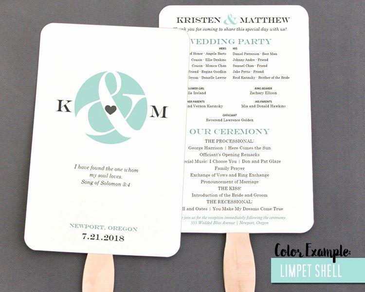Wedding Fan Program Kit New Ampersand and Heart Wedding Program Fan Cool Colors
