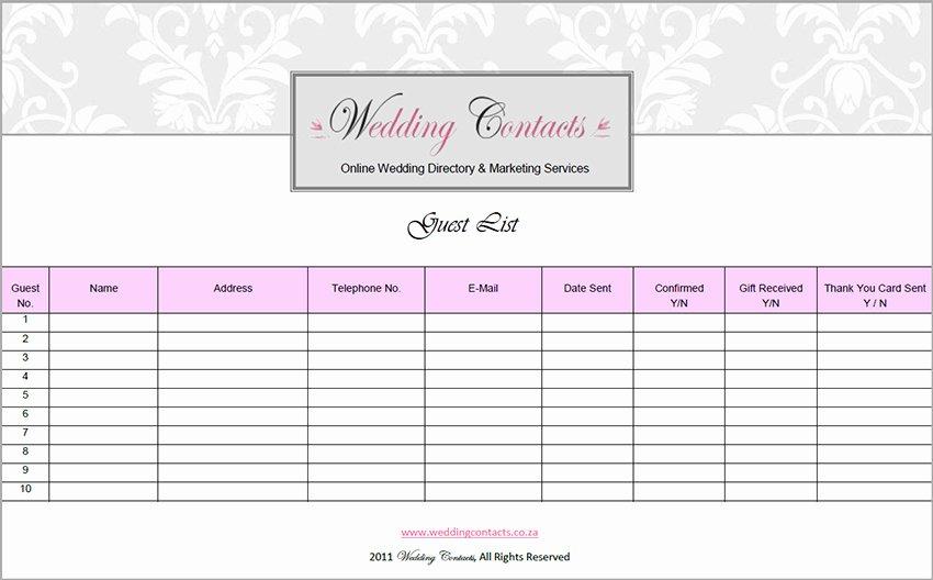 Wedding Guest List Pdf Beautiful 7 Wedding Guest List Template Free Word Excel Pdf formats