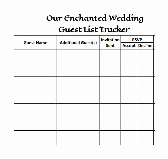 Wedding Guest List Pdf Best Of 17 Wedding Guest List Templates Pdf Word Excel