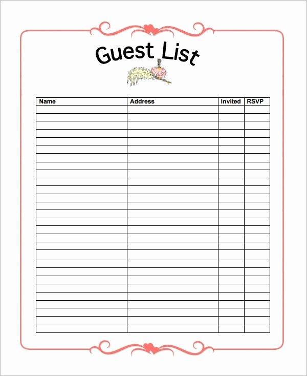 Wedding Guest List Pdf Inspirational 17 Wedding Guest List Templates Pdf Word Excel