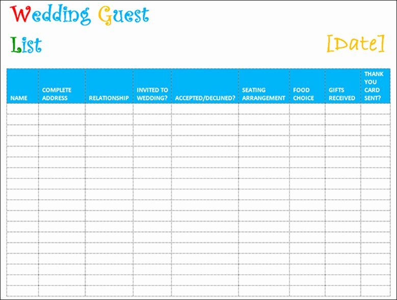 Wedding Guest List Pdf Luxury 7 Wedding Guest List Template Free Word Excel Pdf formats