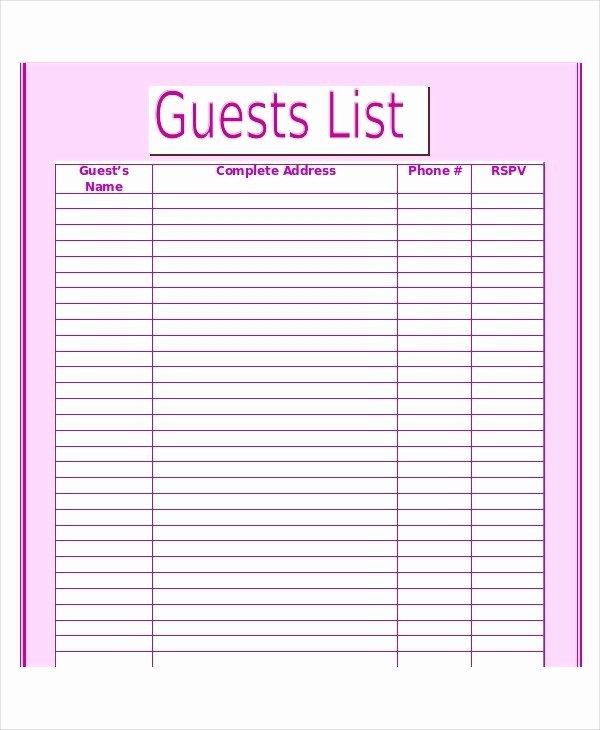 Wedding Guest List Pdf Luxury Printable Wedding Guest List Template