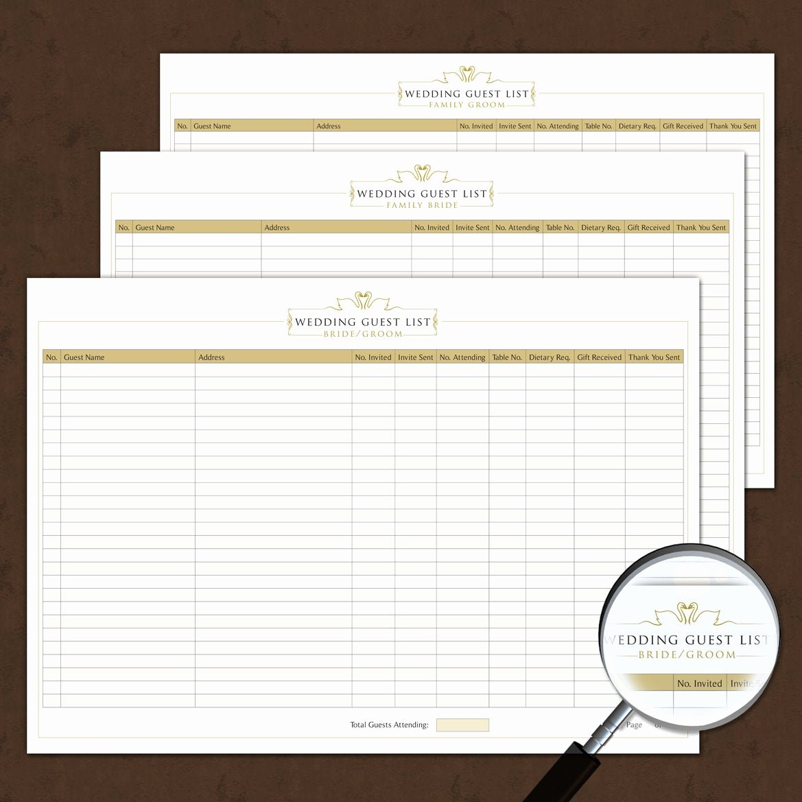 Wedding Guest List Pdf Luxury Wedding Guest List Template Interactive Printable & by