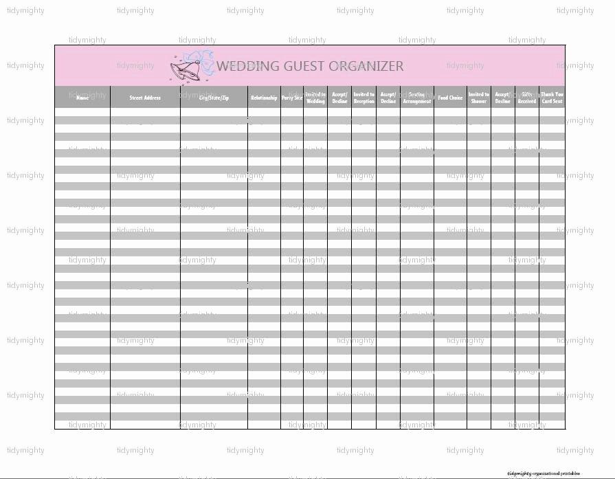 Wedding Guest List Pdf Luxury Wedding Guest organizer Tracker Printable Pdf Instant