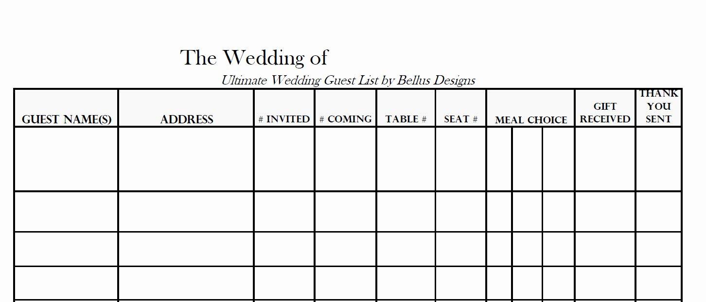 Wedding Guest List Pdf New 17 Wedding Guest List Templates Excel Pdf formats