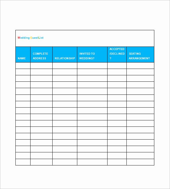 Wedding Guest List Templates Free Awesome Printable Wedding Guest List Template Spreadsheet