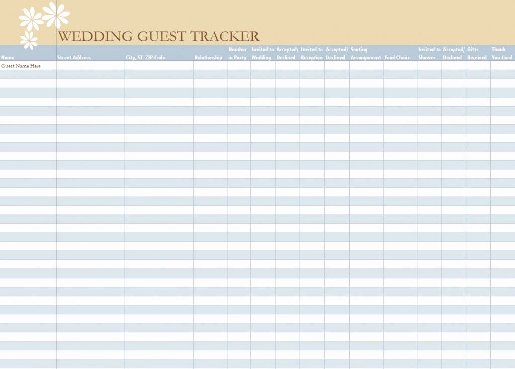 Wedding Guest List Templates Free Awesome Wedding Guest List Spreadsheet