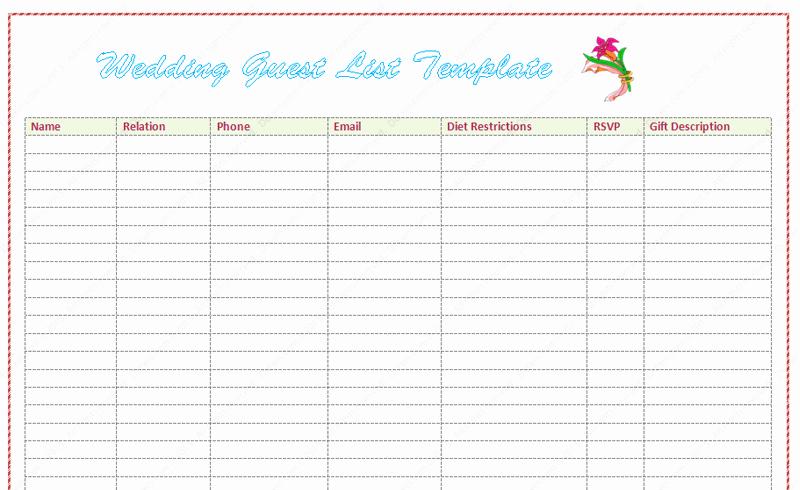 Wedding Guest List Templates Free Beautiful Wedding Guest List Template Word Dotxes