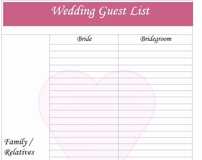 Wedding Guest List Templates Free Elegant 30 Free Wedding Guest List Templates Templatehub