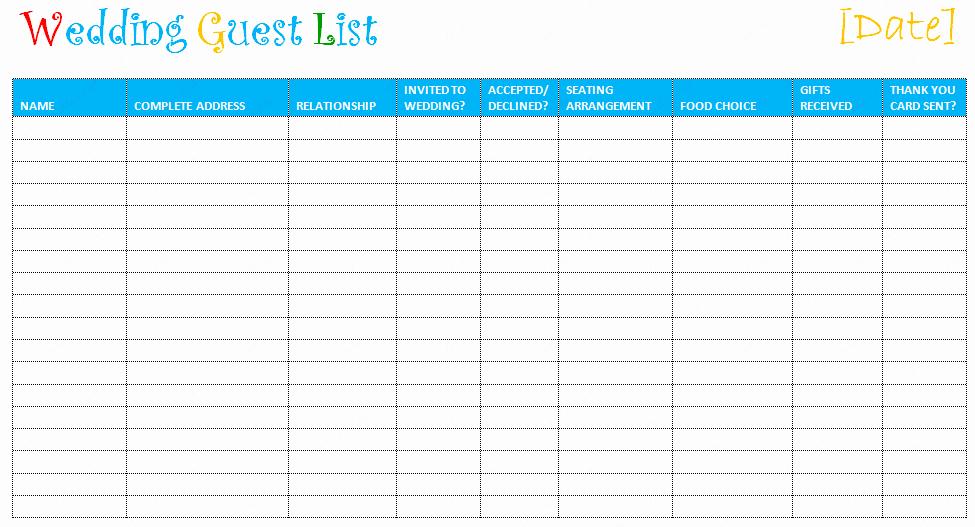 Wedding Guest List Templates Free Elegant Free Editable Wedding Guest List Templates – Document