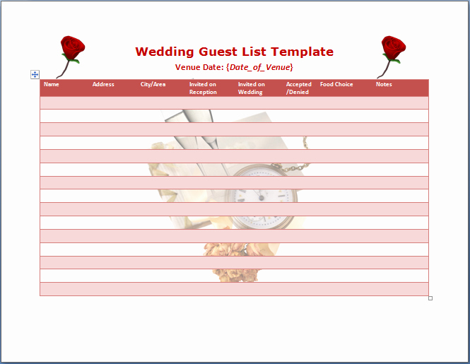 Wedding Guest List Templates Free Elegant Wedding Guest List Template Word Templates