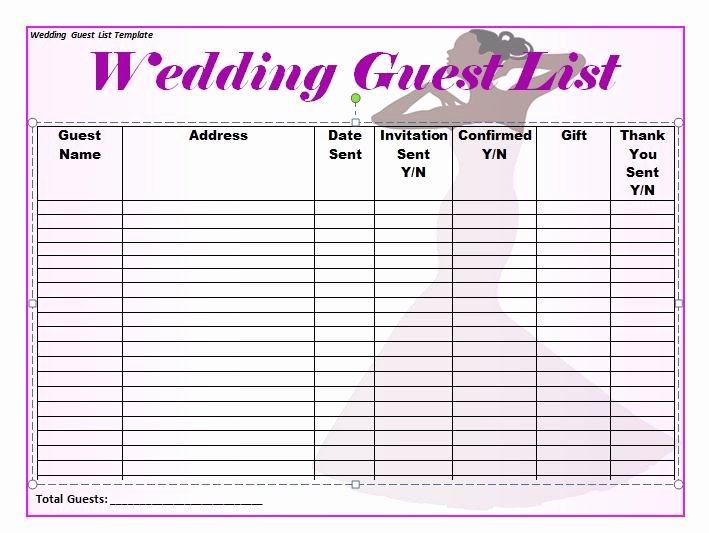 Wedding Guest List Templates Free Inspirational 37 Free Beautiful Wedding Guest List & Itinerary Templates