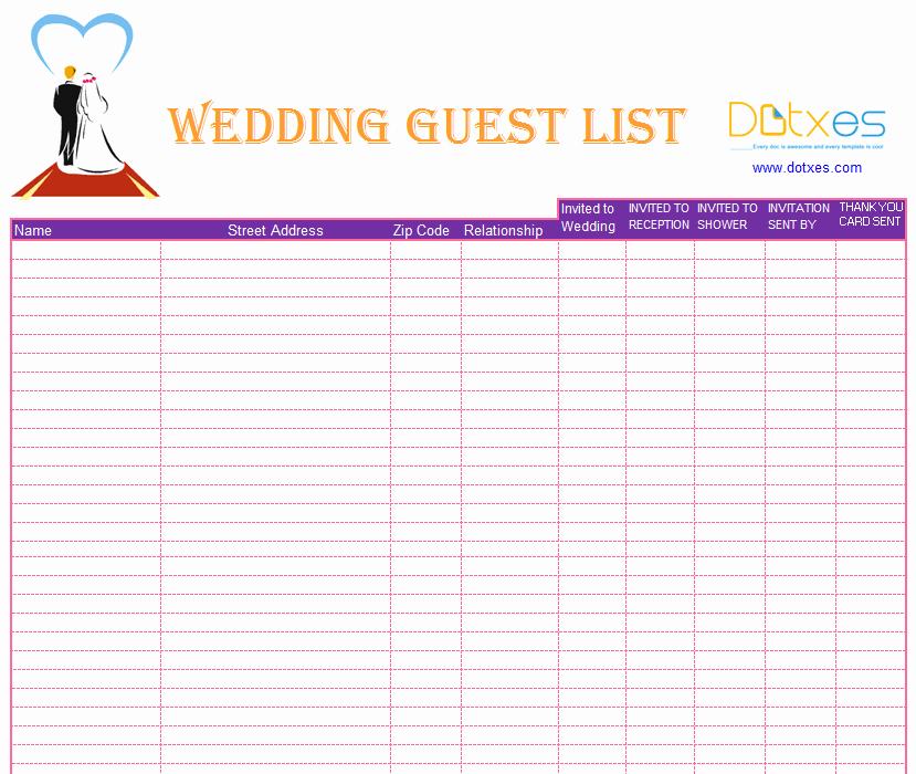 Wedding Guest List Templates Free Inspirational Blank Wedding Guest List Template Dotxes