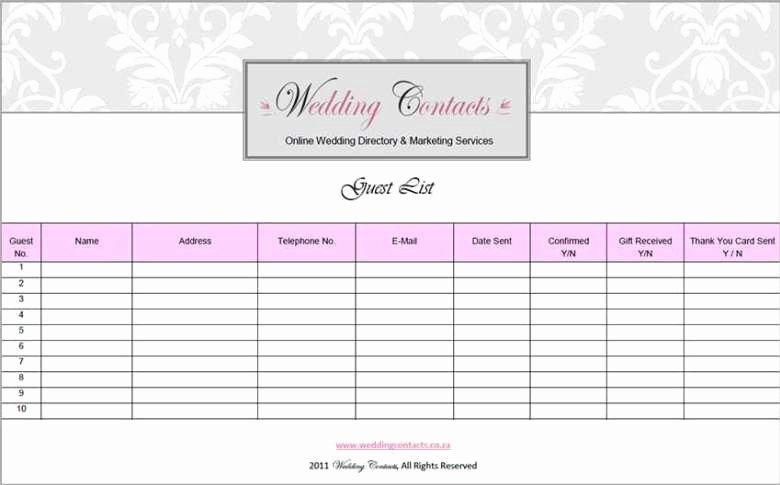 Wedding Guest List Templates Free Inspirational top 5 Resources to Get Free Wedding Guest List Templates