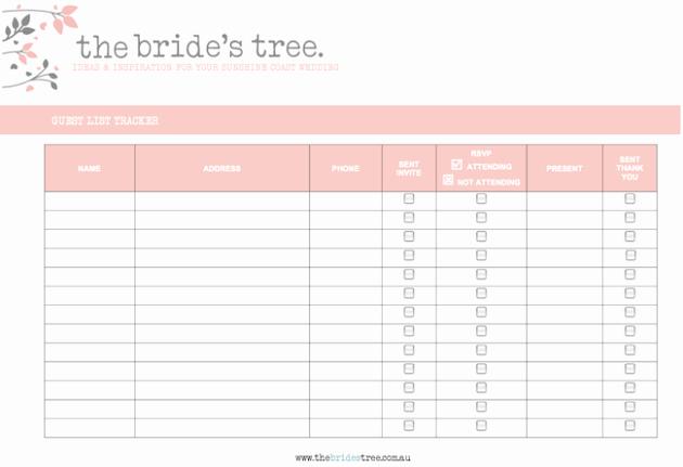 Wedding Guest List Templates Free Inspirational Wedding Guest Lists Excel Find Word Templates