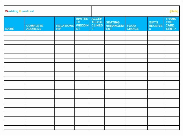 Wedding Guest List Templates Free Lovely Wedding Guest List Template – 7 Free Samples Examples