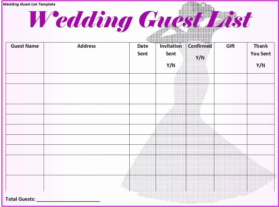 Wedding Guest List Templates Free Luxury 30 Free Wedding Guest List Templates Templatehub