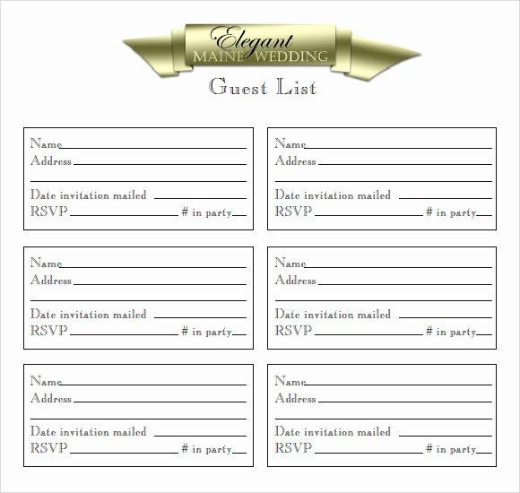 Wedding Guest List Templates Free New 9 Guest List Samples