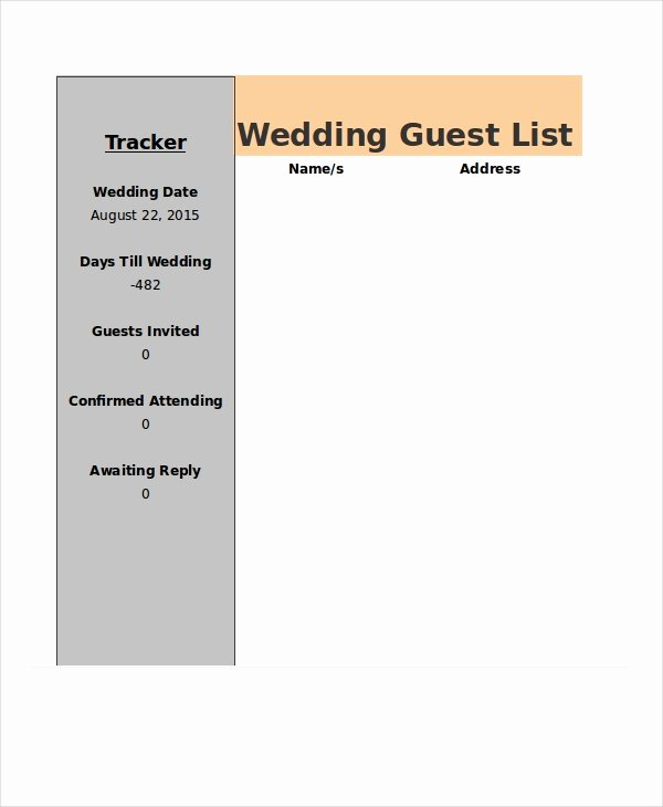 Wedding Guest List Tracker Beautiful Wedding Guest List Template 9 Free Word Excel Pdf