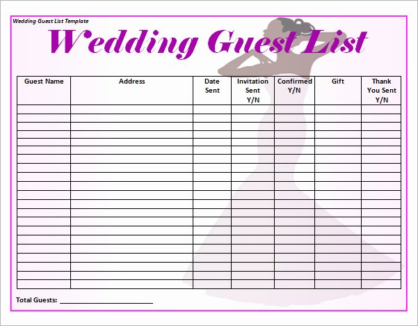 Wedding Guest List Tracker Inspirational 17 Wedding Guest List Templates Pdf Word Excel