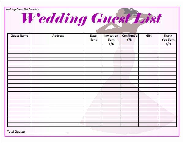 Wedding Guest List Tracker Inspirational 17 Wedding Guest List Templates Pdf Word Excel