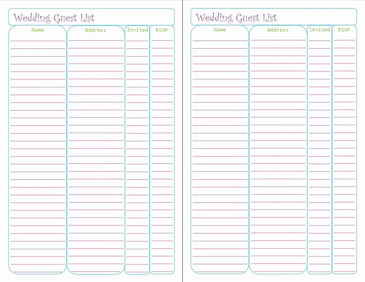 Wedding Guest List Tracker Inspirational Free Printable Wedding Guest List Tracker List