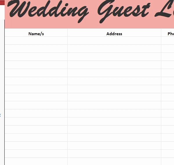 Wedding Guest List Tracker Lovely Wedding Guest List Tracker Template Haven Regarding