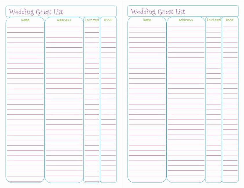 Wedding Guest List Tracker Lovely Wedding Planner Printables – Peanut and Jellybean