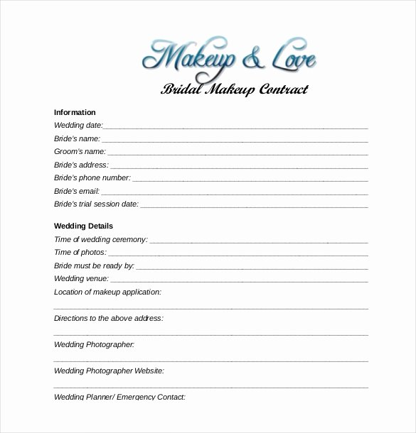 Wedding Hair and Makeup Contract Template Awesome 27 Wedding Contract Templates – Example Word Google Docs