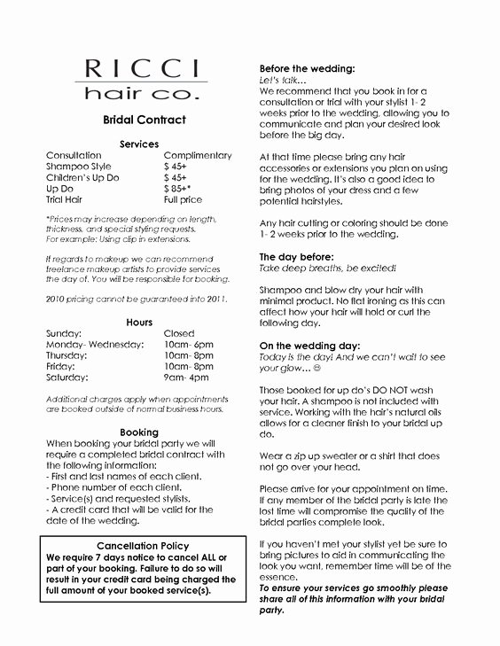 Wedding Hair and Makeup Contract Template Elegant Bridal Hair and Makeup Contract Mugeek Vidalondon