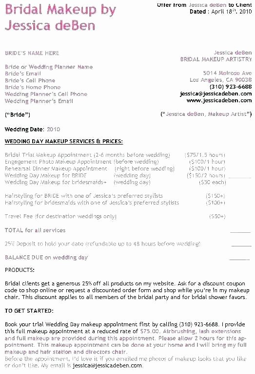 Wedding Hair and Makeup Contract Template Fresh Free Bridal Makeup Consultation form Template