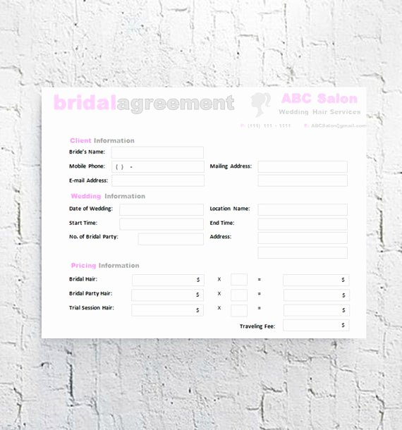 Wedding Hair and Makeup Contract Template Fresh Hair Stylist Bridal Agreement Contract Template Editable