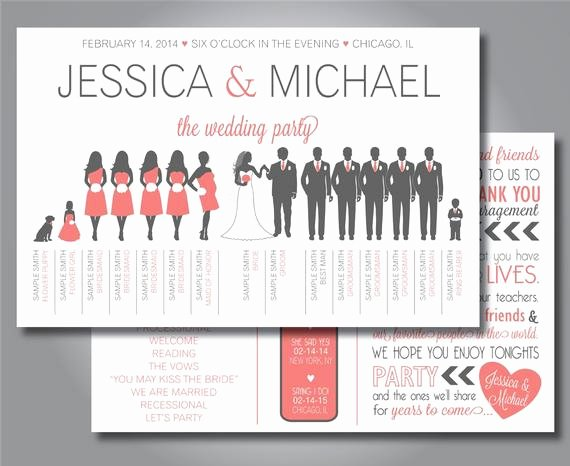 Wedding Party Lineup Template Best Of Silhouette Wedding Program Wedding Party Program Horizontal