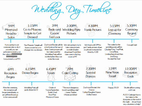 Wedding Party Lineup Template Elegant Wedding Day Timeline