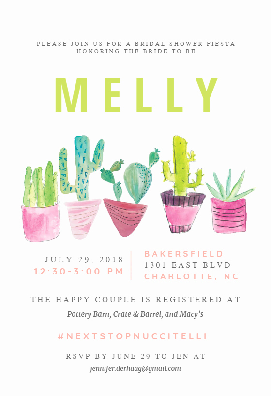 Wedding Party Lineup Template Lovely Cactus Line Free Bridal Shower Invitation Template