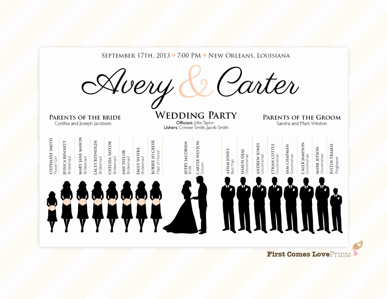 Wedding Party Lineup Template Unique Silhouette Wedding Program Sign Pdf Design Canvas