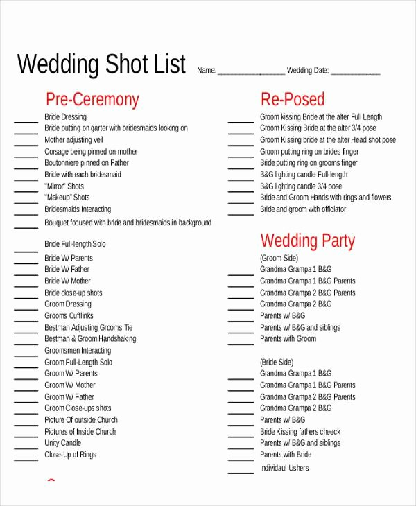 Wedding Photo Checklist Word Document Beautiful Shot List Sample 9 Examples In Word Pdf