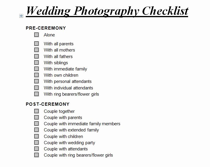 Wedding Photo Checklist Word Document Best Of Wedding Graphy Checklist