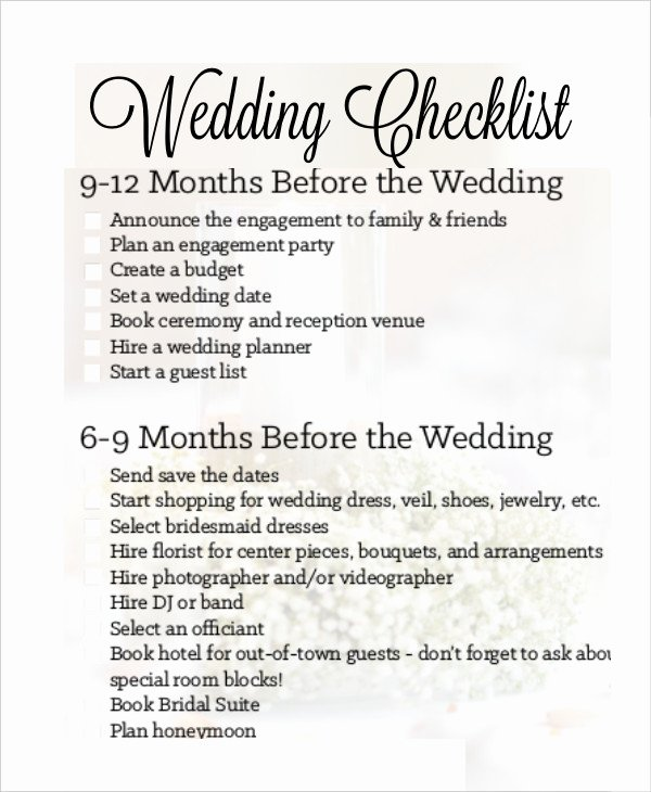 Wedding Photo Checklist Word Document Elegant Simple Wedding Checklist 25 Free Word Pdf Documents