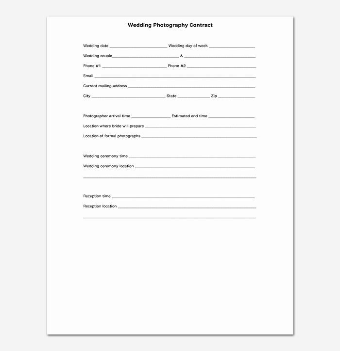 Wedding Photography Contract Template Word Beautiful Standard Wedding Graphy Contract Uk