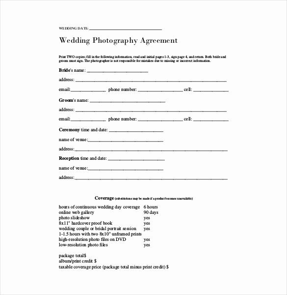 Wedding Photography Contract Template Word Best Of Contract Template – 24 Free Word Excel Pdf Documents