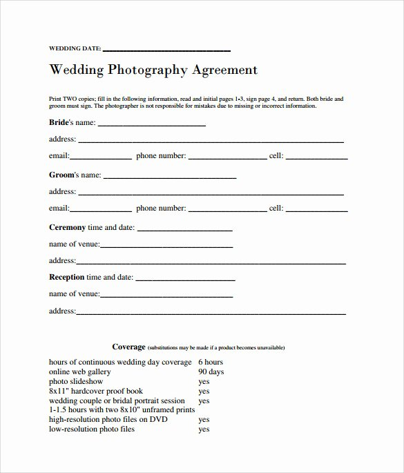 Wedding Photography Contract Template Word Best Of Sample Wedding Contract 14 Documents In Pdf Word